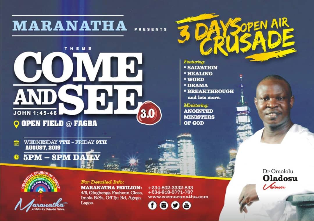 ccc maranatha open air crusade come and see fagba lagos
